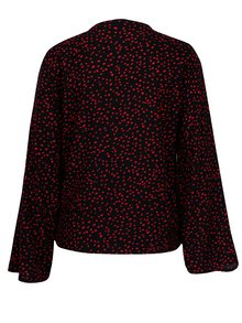 Bluza rosu&albastru cu print si decolteu suprapus - ONLY Anika