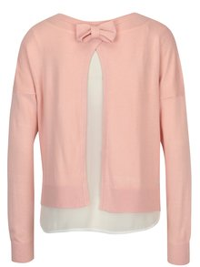Pulover subtire roz deschis cu aspect 2in1 - ONLY Rosana