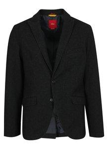 Černé žíhané pánské sako s.Oliver