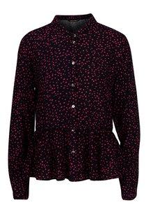 Bluza bleumarin cu print si volane - ONLY Anika