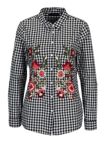 Bielo–čierna kockovaná košeľa s vyšívanými kvetmi Dorothy Perkins