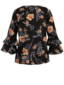 Čierna kvetovaná blúzka s 3/4 rukávmi Dorothy Perkins