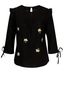 Čierna kvetovaná blúzka s volánmi a výšivkami Dorothy Perkins