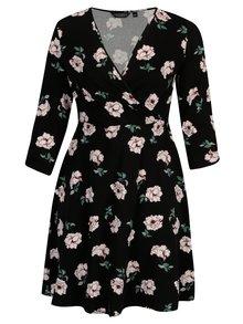 Čierne kvetované šaty s prekladaným výstrihom Dorothy Perkins Curve