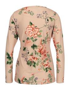 Bluza roz piersica cu print floral si detaliu in talie - Dorothy Perkins