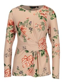 Marhuľové kvetované tričko s riasením Dorothy Perkins
