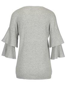 Světle šedý lehký svetr s volány na rukávech Dorothy Perkins
