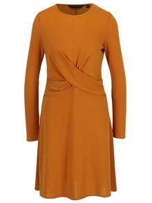 Horčicové šaty s dlhým rukávom Dorothy Perkins
