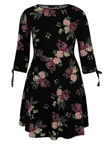 Černé květované šaty s 3/4 rukávem Dorothy Perkins Curve