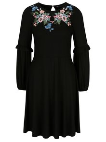 Čierne šaty s výšivkou a potlačou Dorothy Perkins