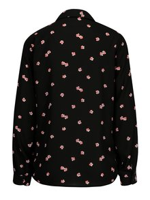 Camasa neagra cu print floral si maneci ajustabile - Dorothy Perkins
