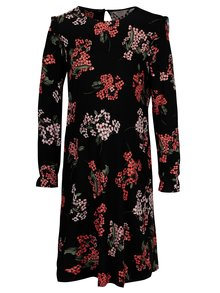 Rochie neagra cu print floral si volane pentru femei insarcinate- Dorothy Perkins Maternity