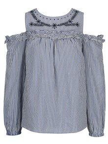 Bluza cold shoulder albastra in dungi  Dorothy Perkins
