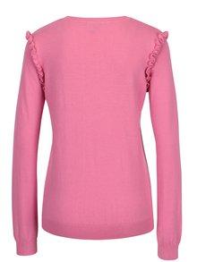 Růžový svetr s volány na rukávech Dorothy Perkins