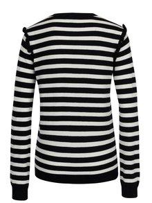 Tmavomodrý pruhovaný sveter s volánmi na rukávoch Dorothy Perkins