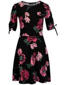 Čierne kvetované šaty so šnurovaním Dorothy Perkins