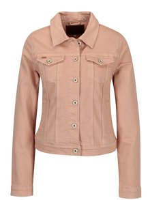 Jacheta scurta roz piersica din denim cu volan ONLY Flair