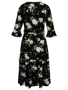 Rochie neagra cu print floral si maneci clopot Dorothy Perkins
