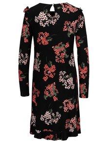 Čierne kvetované šaty s volánikmi Dorothy Perkins