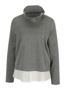 Čierno-biely dámsky tenký sveter so stojačikom a všitou košeľou 2 v 1