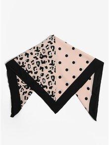 Černo-růžový vzorovaný šátek Pieces Matiilda
