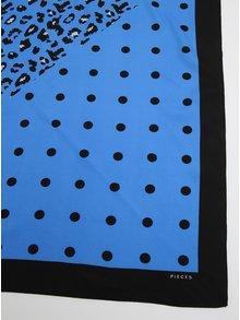 Esarfa negru & albastru cu print - Pieces Matiilda