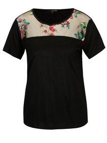 Čierne tričko s výšivkou a priesvitným sedlom TALLY WEiJL