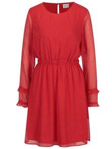Červené bodkované šaty s dlhým rukávom VILA Dotly