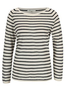 Béžový ľanový sveter s tmavomodrými pruhmi Selected Femme