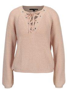Pulover tricotat roz deschis cu sireturi decorative - TALLY WEiJL