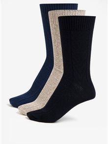 Súprava troch párov ponožiek v modrej a béžovej farbe Burton Menswear London