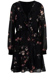 Tmavomodré kvetované šaty s volánmi VERO MODA Hallie
