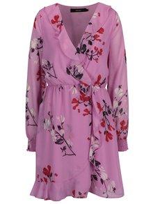 Ružové kvetované šaty s volánmi VERO MODA Hallie