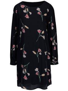 Tmavomodré kvetované šaty s dlhým rukávom VERO MODA Elena