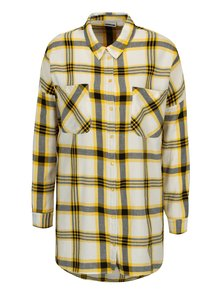 Žltá dlhá károvaná košeľa Noisy May Erik