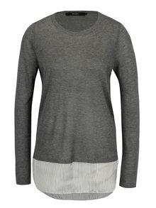 Sivý tenký sveter so všitou košeľou 2v1 VERO MODA Ania