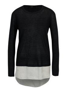 Tmavomodrý tenký sveter so všitou košeľou 2v1 VERO MODA Ania