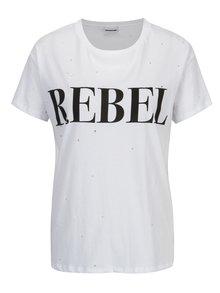 Biele tričko s potlačou a kamienkami Noisy May Command