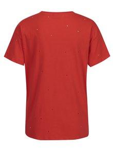 Červené tričko s potiskem a kamínky Noisy May Command