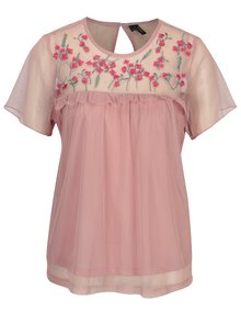 Bluza din plasa roz cu broderie si volane VERO MODA Jade