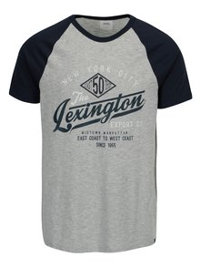 Modro-šedé tričko s potiskem Burton Menswear London