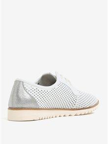 Pantofi crem din piele naturala cu perforatii - Tamaris