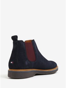 Tmavomodré pánske semišové chelsea topánky Tommy Hilfiger