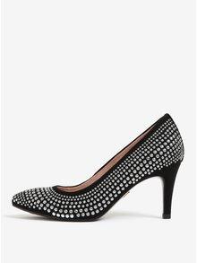 Pantofi negri din piele intoarsa cu tinte Tamaris