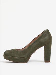 Pantofi kaki din piele intoarsa cu toc si platforma Tamaris