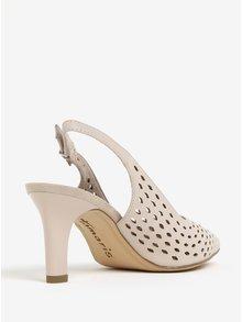 Pantofi bej din piele naturala cu toc si decupaj pe calcai - Tamaris