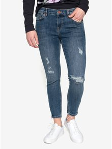 Blugi cropped skinny albastri cu aspect deteriorat Oasis Rip and Repair