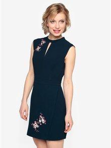 Rochie bleumarin cu broderie florala si decupaj discret - Oasis Blossom