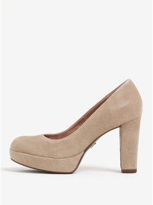 Pantofi bej din piele intoarsa cu toc patrat si platforma Tamaris