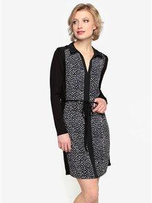 Krémovo-čierne vzorované šaty s dlhým rukávom Oasis Animal